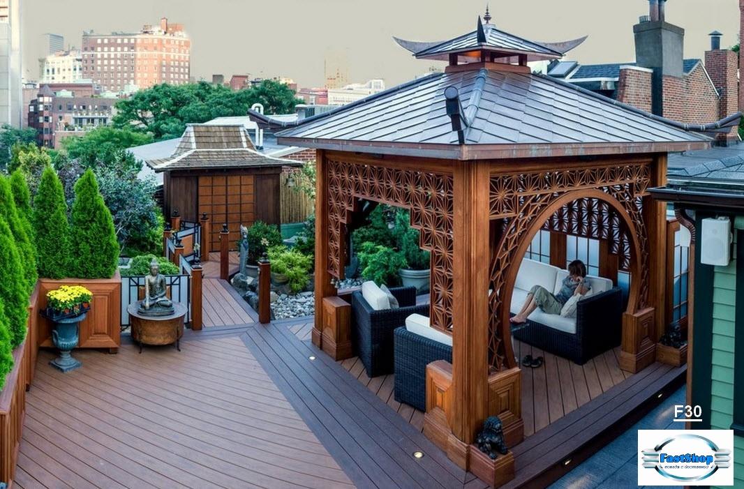Foisor masiv din nucar in stil pagoda
