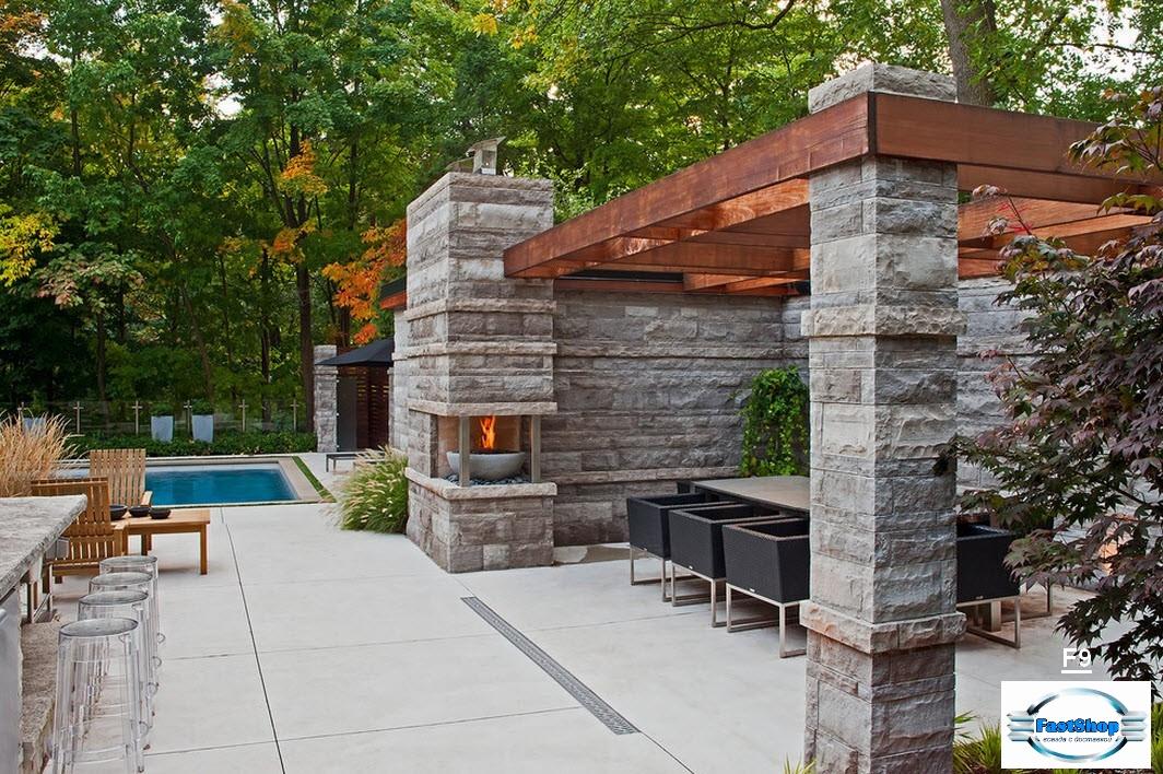 Terrasa din piatra decoratica cu bazin si mangal